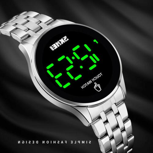 Fashion Men Women Stainless Steel Digtal LED Touch Screen Bu