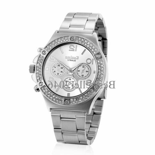 New Luxury Women Girl Stainless Band Analog Quartz