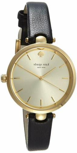 kate spade new york® Goldtone Holland Black Leather Watc