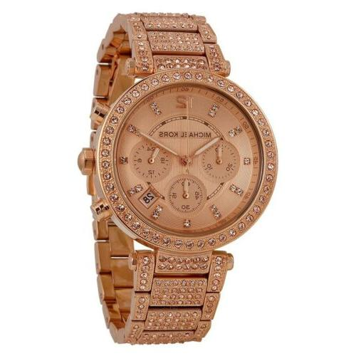 Michael Kors Rose Gold-Tone Glitz Parker Watch