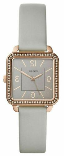 Fossil Shiloh Crystals Square 30mm Grey Dial Leather Women's