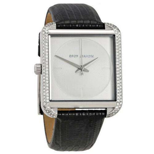 Michael Kors Women's Slim Runway Black Leather Strap Watch M