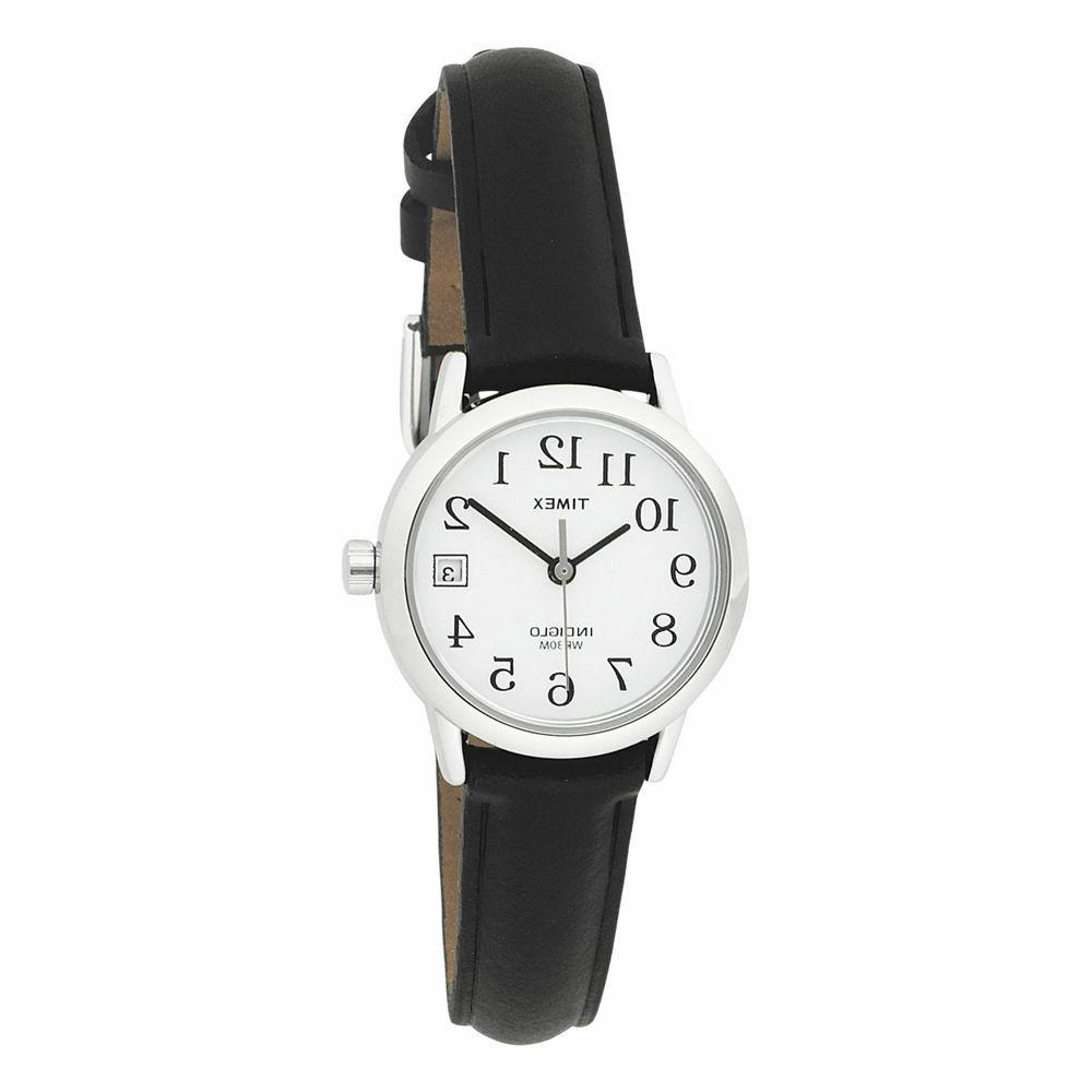 Timex Women's T2H331 Black Leather Quartz Watch with White D