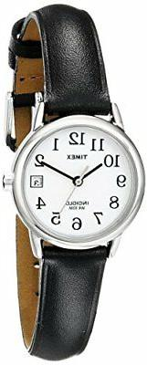 Timex Women's T2H331  Indiglo Leather Strap Watch, Black/Sil
