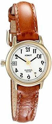 Timex Women's T2J761  Indiglo Leather Strap Watch, Honey Bro