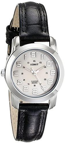 TIMEX Women's T2N4359J Silver-Tone Watch with Black Leather