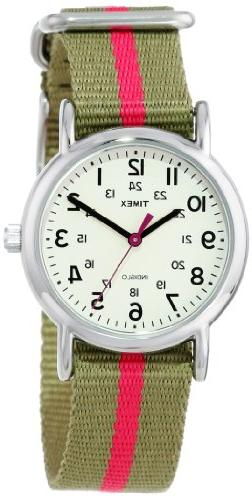 "Timex Women's T2N917 ""Weekender"" Watch with Olive Green and"