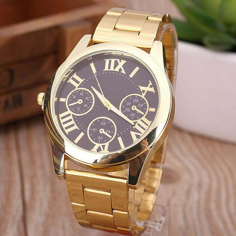 US Women Numbers Quartz Alloy Gold Plated Watch