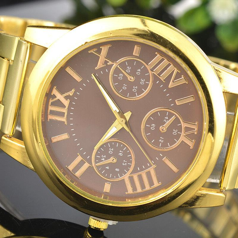 US Fashion Women Numbers Gold Plated Watch