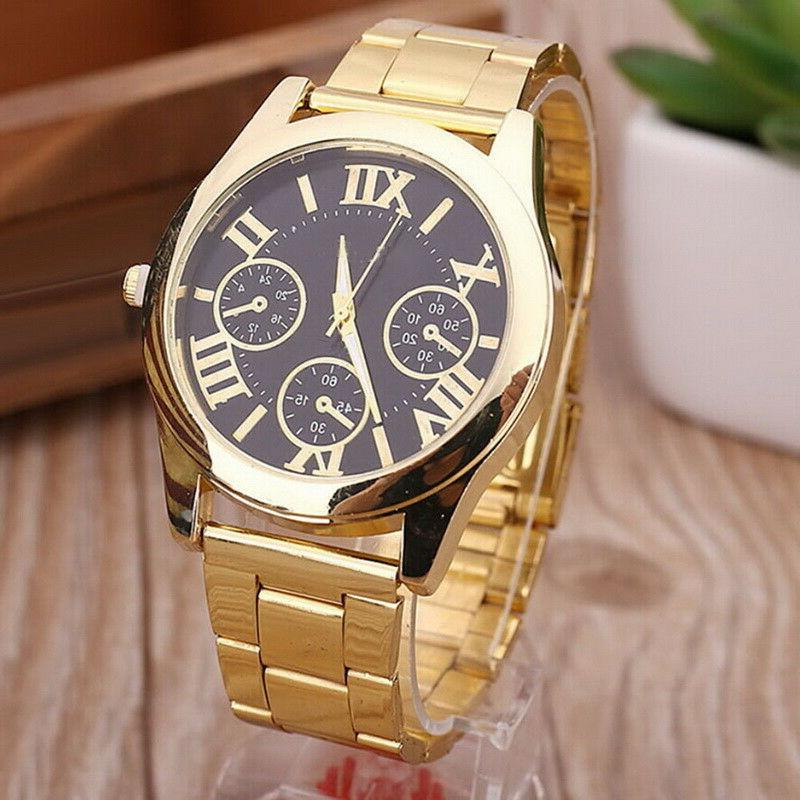 US Fashion Roman Numbers Gold Watch