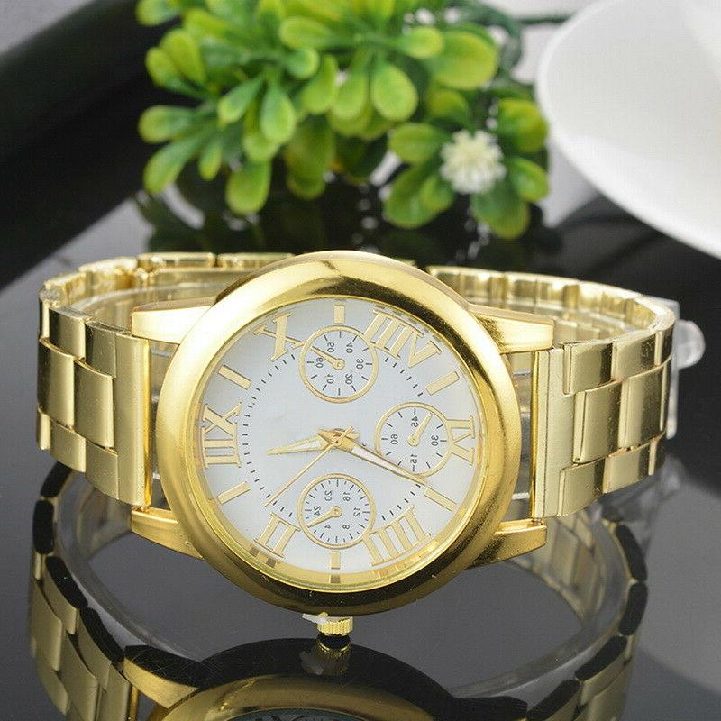 US Women Roman Numbers Analog Alloy Gold Plated Watch