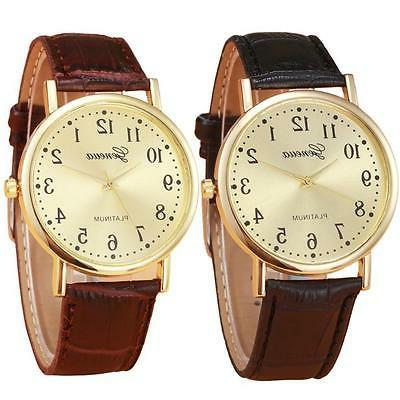 Women And Men Fashion Watch Golden Classical Dial Leather An