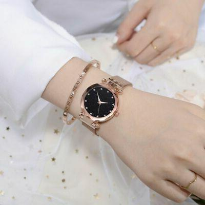 US Starry Sky Crystal Stainless Wrist Watch