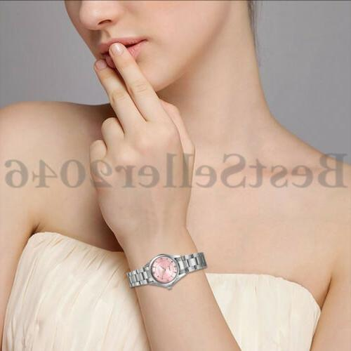 Women Ladies Pink Dress Band Analog