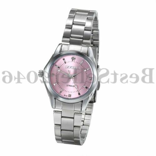 women ladies pink dial dress watches waterproof