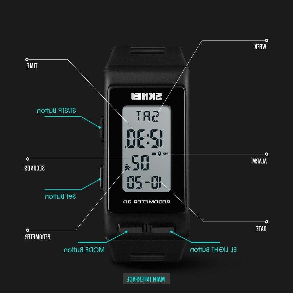 Men Women Digital Watch Waterproof Pedometer