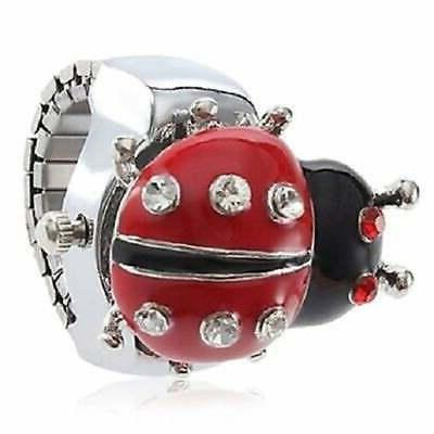 Women's Ladybug Ring Watch Red Ladybug Cover Clear Crystal R