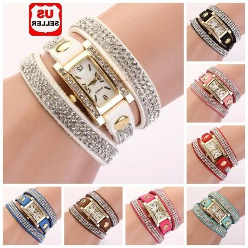 women vintage fashion crystal band bracelet dial