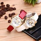 Womens Cute Cat Glasses Casual Watches Girl Leather Analog Q