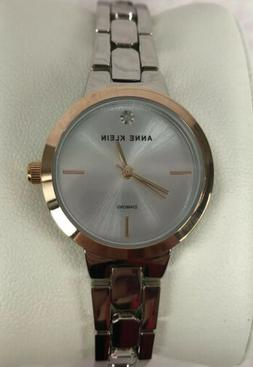 Anne Klein Ladies Watch Rose Gold Face Silver Tone Band Seco