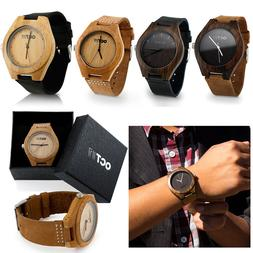 Luxury Men's Women's Bamboo Wood Watch Quartz Leather Wristw