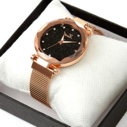 Women Gift Luxury Starry Sky Masonry Watch Magnet Strap Buck