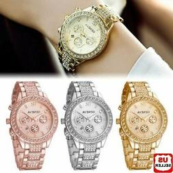 Geneva Luxury Women's Girl's Crystal Stainless Steel Quartz