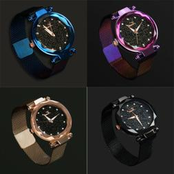 Ladies Women Starry Sky Watch Magnetic Luxury Strap Buckle F