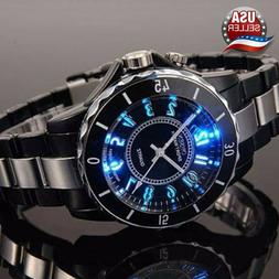 Men's Women's Stainless Steel Couples Wrist Watch LED Analog