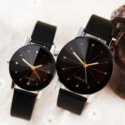 Men Women Leather Strap Line Analog Quartz Ladies Wrist Watc