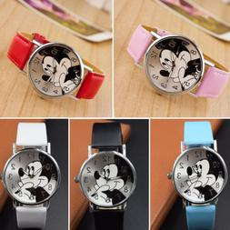 Mickey Mouse Leather Wrist Watch Lady Girl Women Teens Kids