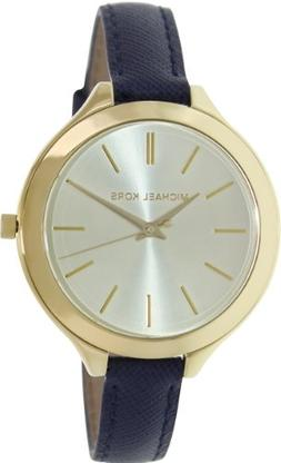Michael Kors Mid-Size Runway Gold-Tone Dial Blue Leather Lad