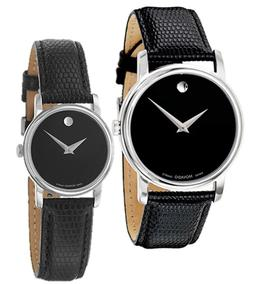 Movado Museum Black Dial Steel Black Leather Mens & Womens W