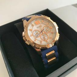New Guess Blue Silicon Rose Gold Tone Multi Dial Ladies Watc