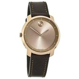 New Movado Bold Rose Gold Tone Leather Strap Women's Watch 3