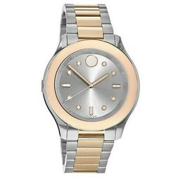 New Movado Bold Two Tone Stainless Steel Silver Dial Women's