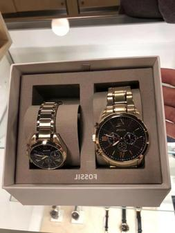 New FOSSIL BQ2400SET Gold Tone Grant Stainless Steel - Men W