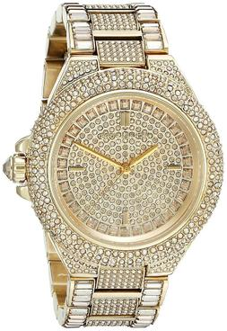 New Michael Kors Camille Gold Pave Dial Crystal Encrusted MK