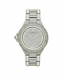 New Michael Kors Camille Silver Pave Dial Crystal Encrusted