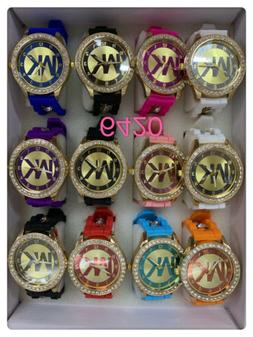 NEW Lot of 12 pc Women's Crystal Accents Mix Color Watch Who