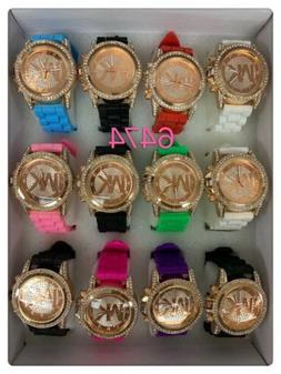 NEW Lot of 12 pc Women's Crystal Accents Mix Color Watch