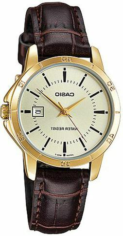 NEW Casio LTP-V004GL-9A Women's Watch BROWN Leather Band Dat