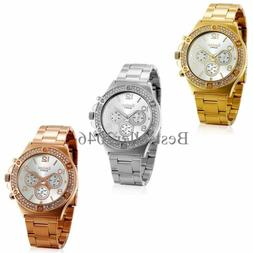 New Luxury Women Ladies Girl Stainless Steel Band Analog Qua
