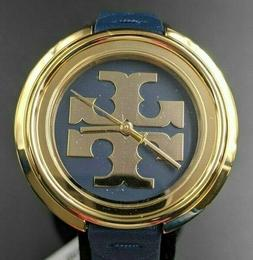 New Tory Burch Miller Stainless Steel Watch Navy Leather Ban