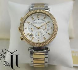 New Michael Kors Parker Chronograph Crystal Two Tone Watch M