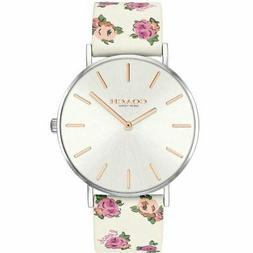 new perry quartz silver dial white floral