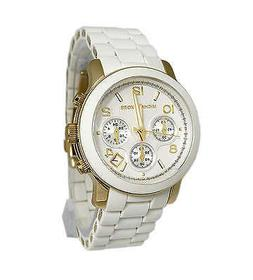 new runway gold and white poly chronograph