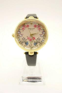 NEW KATE SPADE Watch Women's Black Leather Gold Multi Color
