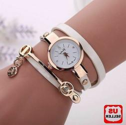 New Women's Fashion Ladies Faux Leather Rhinestone Analog Qu