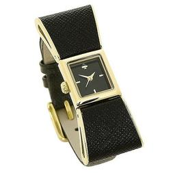 kate spade new york® Goldtone Kenmare Black Leather Watc